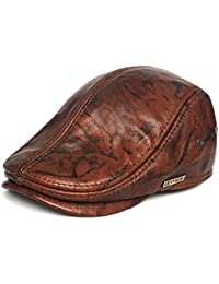 LETHMIK Flat Cap Cabby Hat Genuine Leather Vintage newsboy Cap IVY Driving  Cap 3ce30bf6a5b1