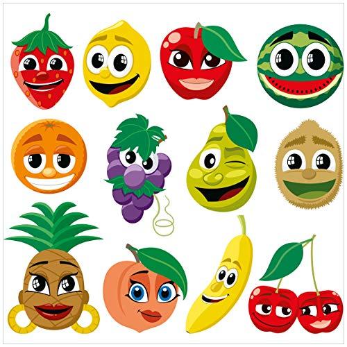 Wallario Acrylglasbild Obst-Smilies im Comic-Stil - Lustige Erdbeeren, Bananen, Kirschen etc. - 50 x 50 cm in Premium-Qualität: Brillante Farben, freischwebende Optik