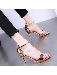 YMFIE Stile Europeo colorazione appuntito di temperamento sexy tacco alto scarpe donna primavera ed estate belle e confortevoli sandali,35 UE,b