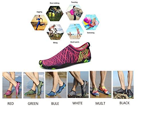 Unisex Rapida Asciugatura Aqua Water Scarpe Pool Beach Esercizio Yoga Shoes bianca
