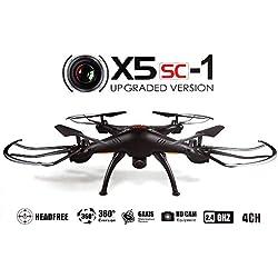 Syma X5SC-1 - Drone cuadricóptero con control remoto y cámara HD, Negro