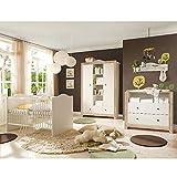 Babyzimmer Paris weiß matt nelson eiche 5 tlg. dunkle Griffe Komplett Set