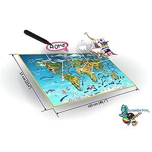 Vinilo con mapamundi del mundo animal, para pared, ideal para habitación infantil, atlas, extragrande, 57 x 102 cm, de BumbleBee Print KM-01-UK (incluye más de 150 vinilos individuales y base de mapa)