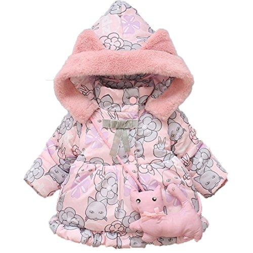 Manteau à capuche Fille Hiver Chaud Ultra Épais Doudoune Fille Longra Bébé  Vêtements d extérieur Chat Imprimé Parka Enfant Vetement pour Bebe Habits  Bébé ... 396b2f0a1c4