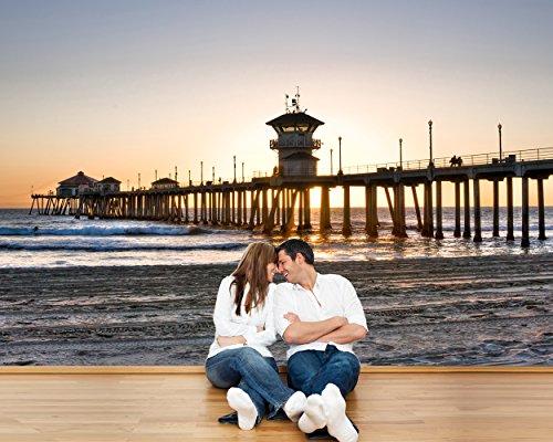 Fototapete selbstklebend Huntington Beach Pier - 130x100 cm - Wandtapete - Poster - Dekoration - Wandbild - Wandposter - Bild - Wandbilder - Wanddeko