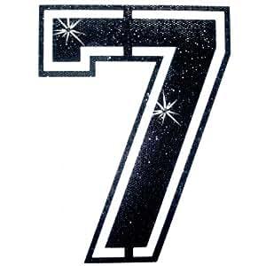 Paillettes sequins Tissu noir Football Chiffre 7 fer sur T-Shirt transfert Patch Bling