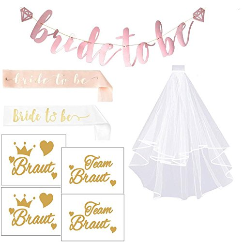 Bride to be | JGA Deko Accessoires für Den Junggesellinnenabschied | Brautschleier + 2 Bride to be Schärpe + 1 Banner + 18 Tattoos für Braut Dusche Henne Nacht Party Lieferungen