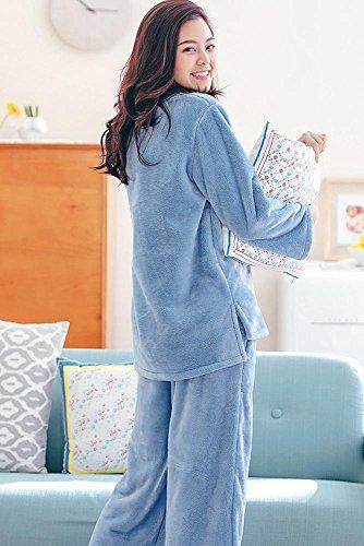 donne inverno flanella set da pigiama le signore 2 pezzi morbido addensare loungewear, M-XL Blue