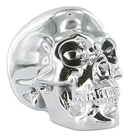 Silver Chrome Ceramic Skull. Reflective Plated Human Head. Unique Home Decor or Gift