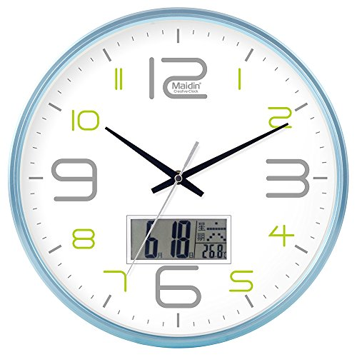 DIDADI Wall Clock Schautafel Schlafzimmer Wohnzimmer Hörraum Wanduhr Herr Ding hinter dem Kalender Uhr - Ching-stein Batterie Uhren runden-Jong-Mann, 14-Zoll-LCD-Blau 543, Version
