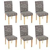 Mendler 6x Esszimmerstuhl Stuhl Lehnstuhl Littau ~ Textil mit Schriftzug, grau, helle Beine