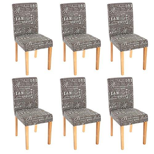6x Esszimmerstuhl Stuhl Lehnstuhl Littau ~ Textil mit Schriftzug, grau, helle Beine