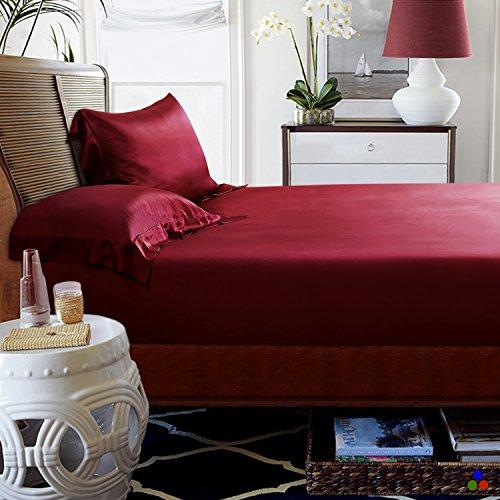 ElleSilk 100% Seiden Bettlaken-Set 3-Teiliges, Seide Spannbetttuch (180 x 200 x 30cm) und Seide Kopfkissenbezüge (80 x 80cm) für Ganzjähre, 22 Momme, Super Weich und Komfortabel, Weinrot