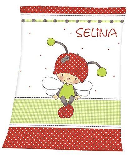 Decke mit Namen weiss-rot Käfer-Schmetterling für Kinder und Babys Babydecke Kinderdecke (Decken Erhalten Mädchen Kleinkind)