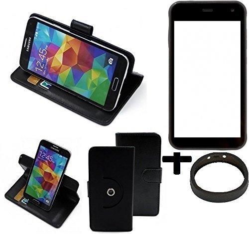 K-S-Trade® Hülle Schutzhülle Case für Cyrus CS 22 + Bumper Handyhülle Flipcase Smartphone Cover Handy Schutz Tasche Walletcase schwarz (1x)