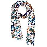 KASHFAB Kashmir Da donna Estate Moda Stampato Sciarpa, Seta Stole, morbido Lungo Scialle, Elegante Pashmina Arancia Blu