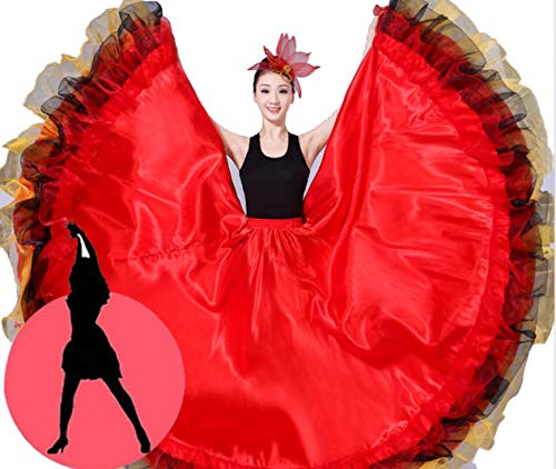 SMACO Spanisch Flamenco Röcke Frauen Flamenco Dance Kostüme Gypsy Rock Damen Gesellschaftstanz Kleid Bühnenshow Wear Kleidung,D (Gypsy Kostüm Frauen)