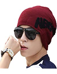 iSWEVEN 1034a Red Imported Fancy Beautifully wooven Expandable Very Soft Beanie Cap hat for Women Girls Adults Men Boys Female Gents