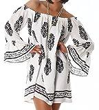 Damen Bandeau Top Kleid Bluse Tunika Hemd Flügelärmel Überwurf Black 36-38