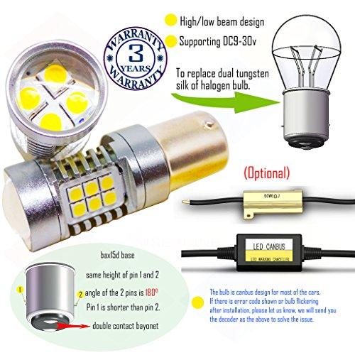 Preisvergleich Produktbild Wiseshine bax15d led birne lampen DC9-30v 3 Jahre Qualitätssicherung (2 Stück) Hoch- / Abblendlicht bax15d 22smd 3030 blau