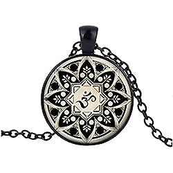 Om collar OM colgante Yoga joyas cristal collar colgante de cristal cabujón