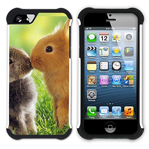 Graphic4You Niedlich Niedlich Kaninchen Hase Tier Design Hart + Weiche Kratzfeste Hülle Case Schale Tasche Schutzhülle für Apple iPhone SE / 5 / 5S Design #8