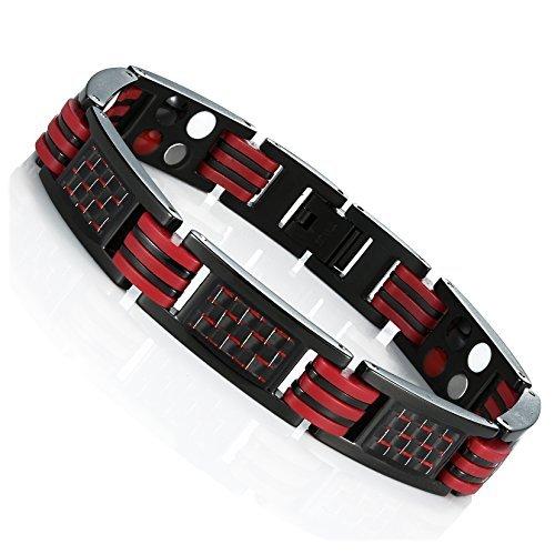 Urban Schmuck Herren Magnetarmband Titan Link Armreif Armband mit Karbonfaser 22 cm (schwarz und rot)