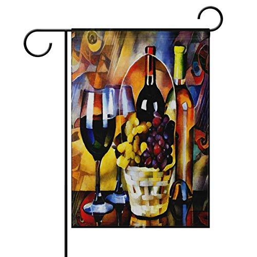 Vino Wine Country Welcome Summer Autumn Double Sided Garden Yard Flag, Purple Grapes Wine Bottle Decorative Garden Flag Banner for Outdoor Home Decor Party(Size: 12.5inch W X 18 inch H)