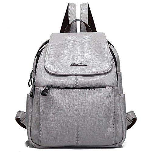 Frauen Mode Echtes Leder Rucksack Geldbörse Damen Casual Schultertasche Schultasche für Mädchen (grau)