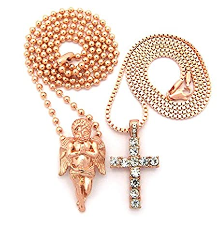 Stone Stud Single Row Cross & Praying Angel Pendant Set Multi Chain Necklaces in Rose Gold-Tone