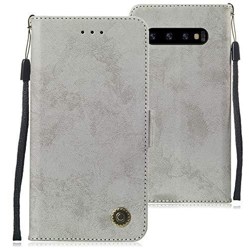 Huphant kompatibel mit Samsung Galaxy S10 Handyhülle Glitzer Leder Hülle Wallet Flip Schutzhülle Tasche mit Samsung Galaxy S10 Kartenfach Geldklammer Ständer Kartenfächer Magnet -Grau