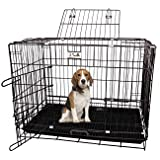 Jainsons Pet Products Black Cage/Crate/Kennel with Removable Tray for Dogs/Cats, 30 inch