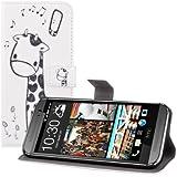kwmobile Hülle für HTC One M8 / Dual - Wallet Case Handy Schutzhülle Kunstleder - Handycover Klapphülle mit Kartenfach und Ständer Giraffe Comic Design Schwarz Weiß