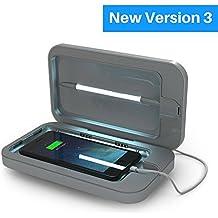 PhoneSoap 3 Désinfectant UV pour téléphone portable et double chargeur de téléphone cellulaire universel | Désinfectant UV breveté et éprouvé cliniquement | Nettoyage et charge pour tous les téléphones - Argent
