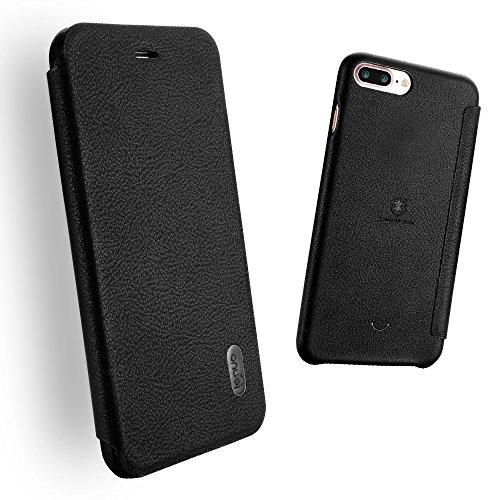 Custodia iPhone 7 Plus/iPhone 8 Plus, Luxury Ultra Slim PU pelle Protettiva Flip Portafoglio Cover Case Copertura Custodia per iPhone 7 Plus/iPhone 8 Plus - Rosso Nero