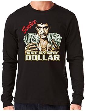 35mm - Camiseta Hombre Manga Larga - Scarface Get Every Dollar- Tony Montana - Long Sleeve Man Shirt