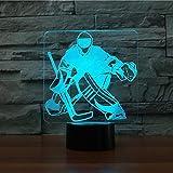 GBBCD Nachtlicht Led 3D Usb Nachtlicht 7 Farbwechsel Eishockey Goalie Modellierung Usb Schreibtisch Tischlampe Led Sport Fans Geschenke Hause Beleuchtung Decor