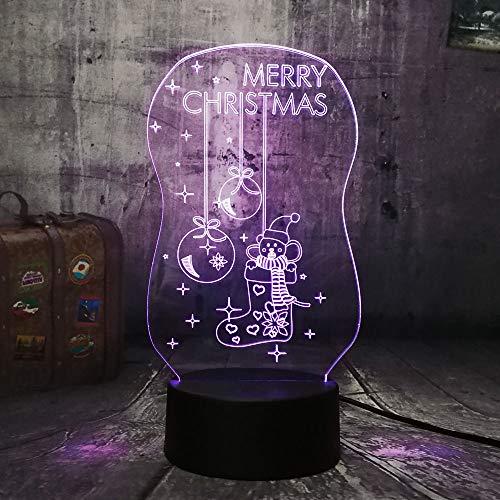 Qaq Starry Skynette 3D Led Beleuchtung Frohe Weihnachten Socke Bell Rgb Nachtlichter Usb Schreibtischlampe Touch Home Frohes Neues Jahr Weihnachtsgeschenk Für Kinder -