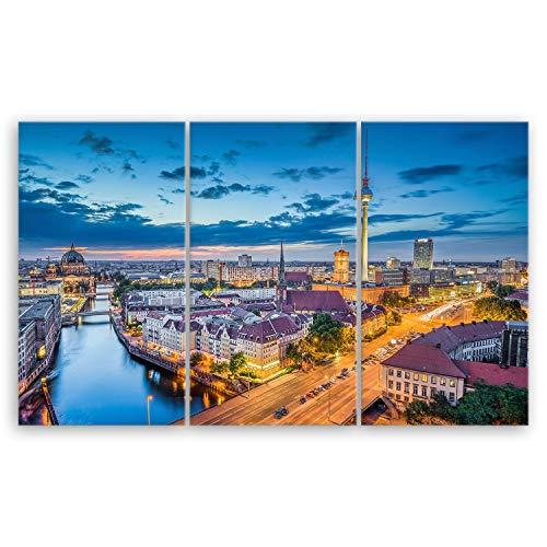 ge Bildet® hochwertiges Leinwandbild XXL - Berlin Skyline - Deutschland - 165 x 100 cm mehrteilig (3 teilig)