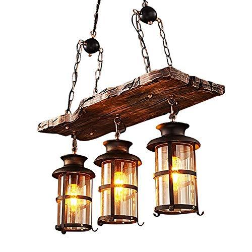 Magosca 3-Licht E27 Glas Lampenschirm Pendelleuchte Industrie Retro Holz Kronleuchter Kreative Antique Boat Holz Droplight Restaurant Hängelampe Beleuchtung Bar Loft Kronleuchter -