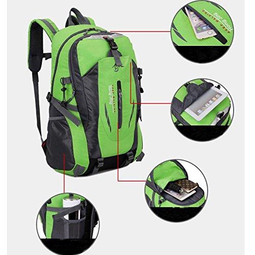 LINGE-Tasche wasserdicht Tasche Schulter lässig Studentinnen und Studenten 40L Rucksack Wandern Bergsteigen Green