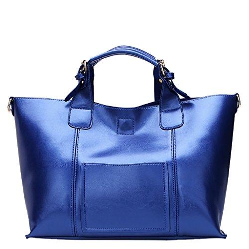 Mena UK Damen Handtaschen und Geldbörsen Tasche für Frauen Leder große Schultertasche Blau