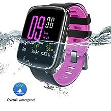Reloj inteligente con Pulsómetro, Impermeable IP68 reloj deportiva Inteligente, Fitness Tracker con Monitor de sueño, Sensor de ritmo cardíaco, Podómetro, ...