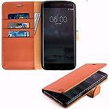 Nokia 6 Hülle, KingShark [Ständer Funktion] Nokia 6 Schutzhülle, Premium PU Leder Flip Tasche Case mit Integrierten Kartensteckplätzen und Ständer für Nokia 6-Leder Serie braun