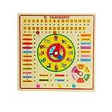 Calendario con orologio per bambini - in legno
