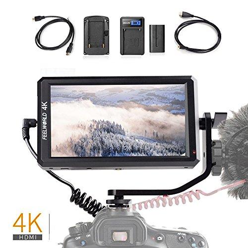 Feelworld F6 sulla fotocamera LCD Monitor Professional Grade 4K HDMI 5.7' IPS per Canon Nikon Sony Panasonic DSLR mirrorless fotocamere, Kit F550 batteria inclusa