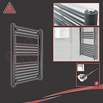 Designer Electric Towel Rail 500mm Supplied with 600W Thermostatic Electric Heating Element h Pre-Filled ThermostaticApollo Anthracite w x 1200mm