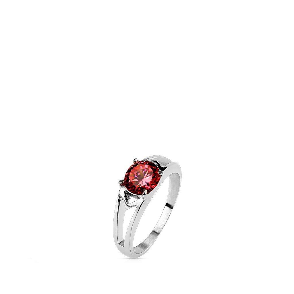 Emeco®–Anello da donna in acciaio inox con zircone CZ Solitaire Prong R m2096, ros