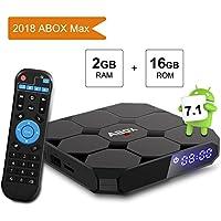 Android TV Box, GooBang Doo A1 Max Android 7.1 Smart TV Box de 2GB RAM+16GB ROM con BT 4.0 Soporta WIFI 2.4GHz /Full HD/4K H.265 Android Box