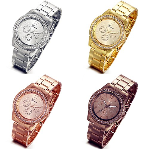 Lancardo Reloj Analógico Lujoso con Bisel de Diamantes Artificiales Brillantes Pulsera Electrónico...